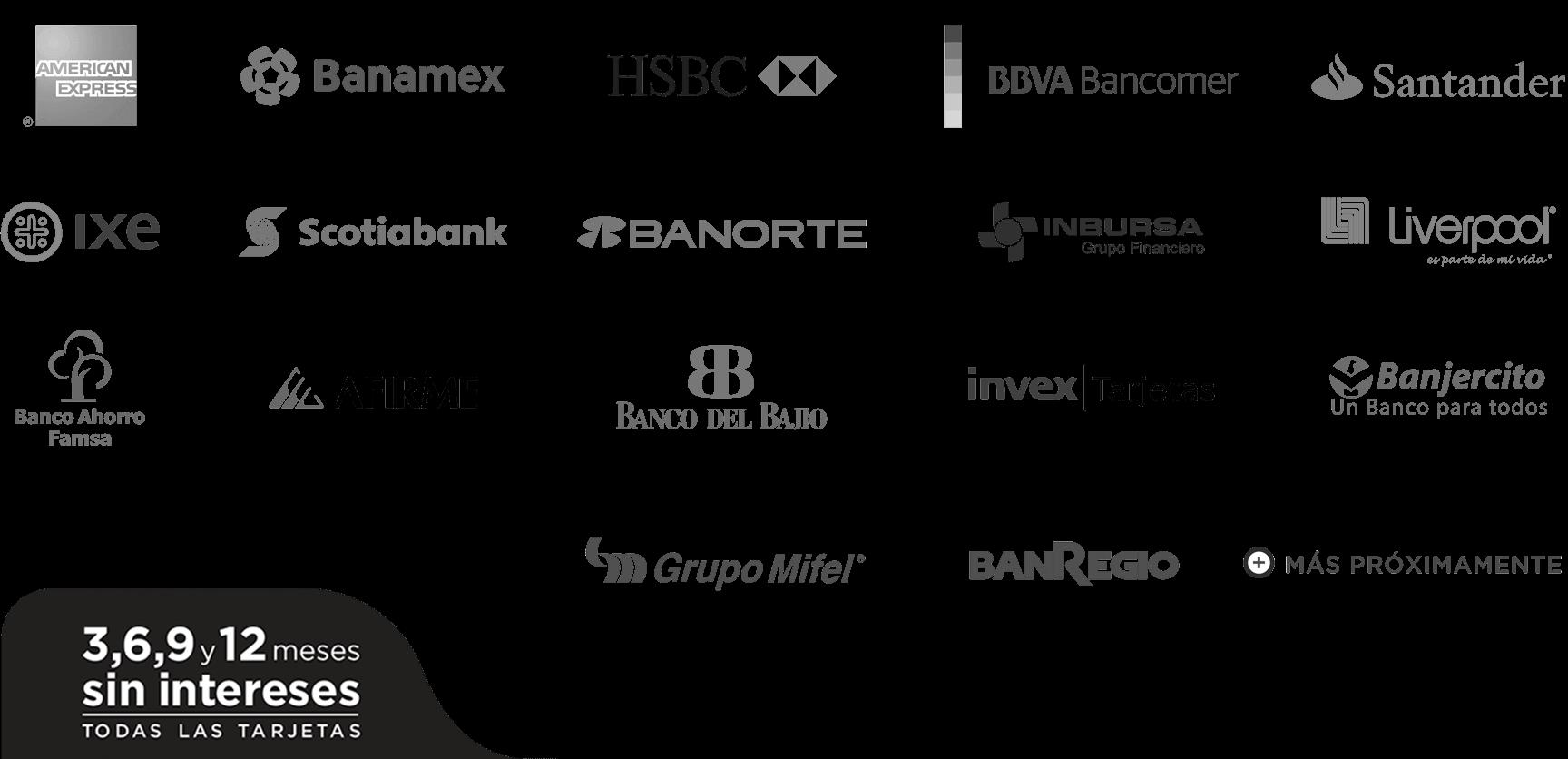 3, 6, 9 y 12 meses sin intereses con los principales bancos